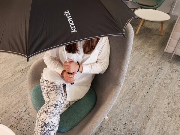 Caroline med paraplyet uppfällt inomhus!!!