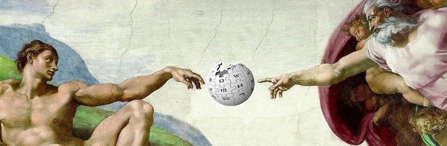 "Michelangelos ""Adams skapelse"" med Wikipedias logo (Michelangelo di Lodovico Buonarroti Simoni 1475 - 1564)"