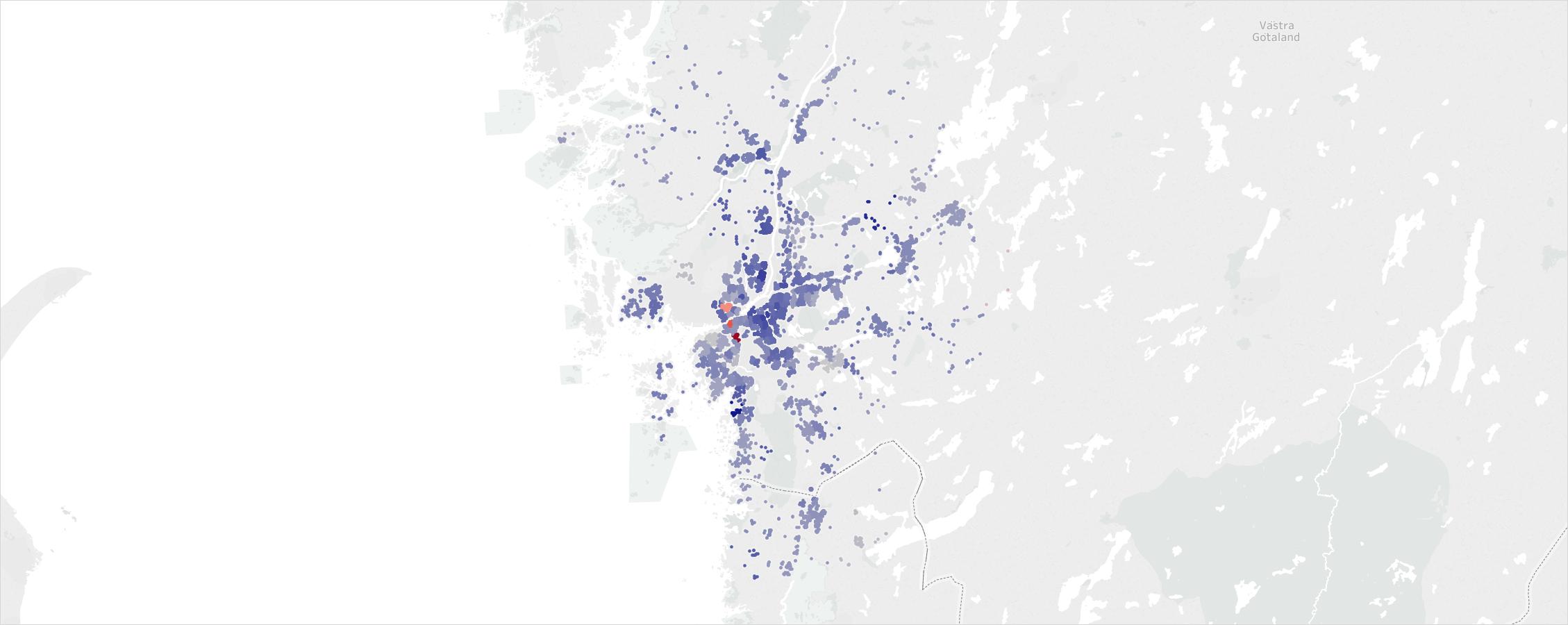 Prisutvecklingen per kluster där mörkt blått indikerar stark tillväxt och rött indikerar negativ tillväxt.